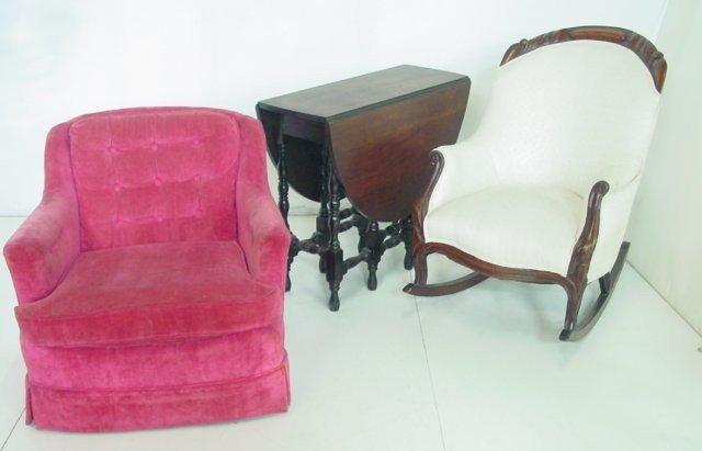 4: Drop leaf table, rocker & upholstered chair