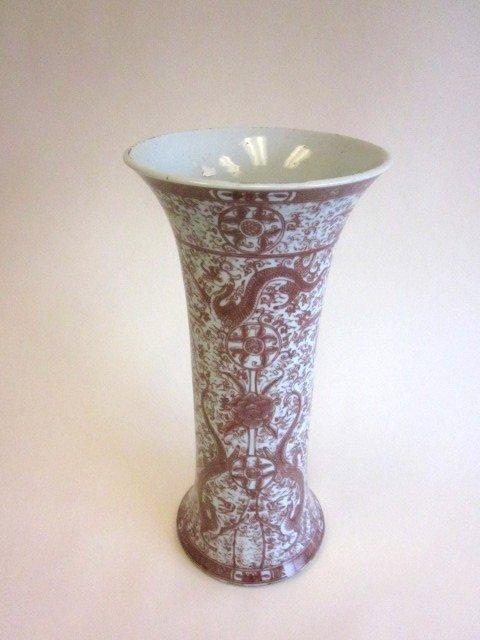 7: Chinese porcelain red & white vase