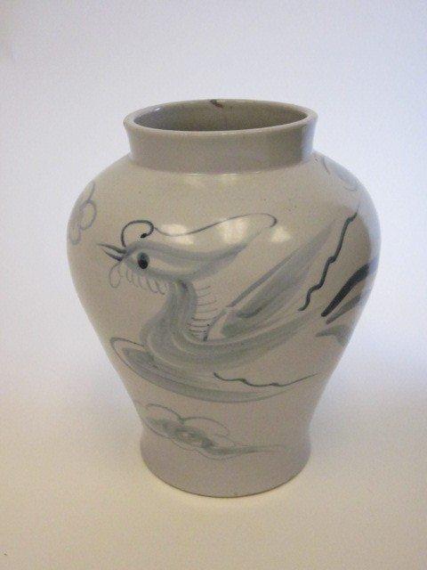 17: Korean blue & white pottery vase