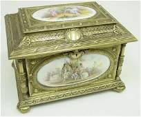 403: 19th c. bronze mounted jewel casket
