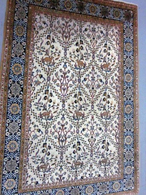1000: Ivory & yellow Tabriz handmade Persian rug