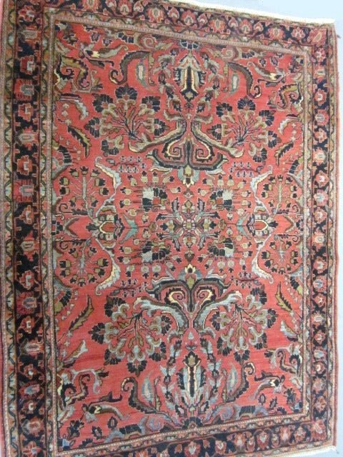 1001: Red Sarouk center medallion rug ca. 1930's