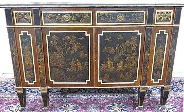1218: 19th c. marble top Chinoiserie cabinet