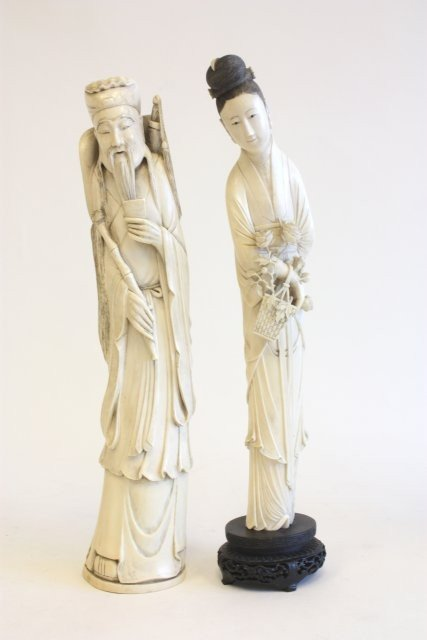 1345A: Two carved ivory figures