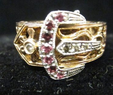 1501A: Rose gold, diamond & ruby buckle ring