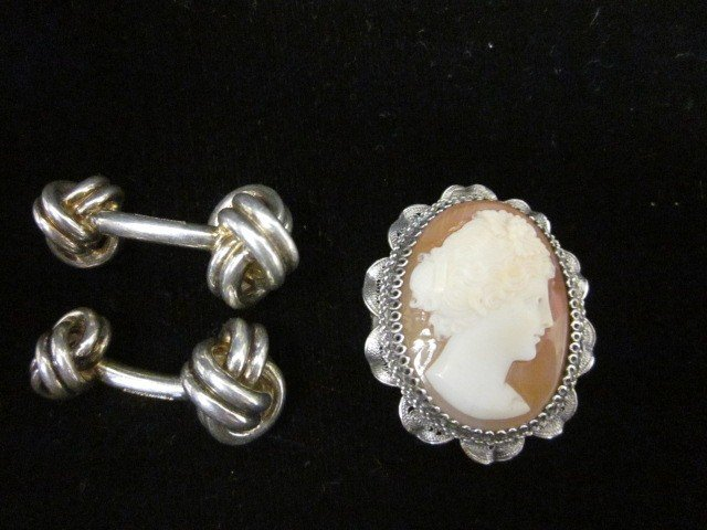1504: Pair Tiffany cufflinks & silver frame cameo pin