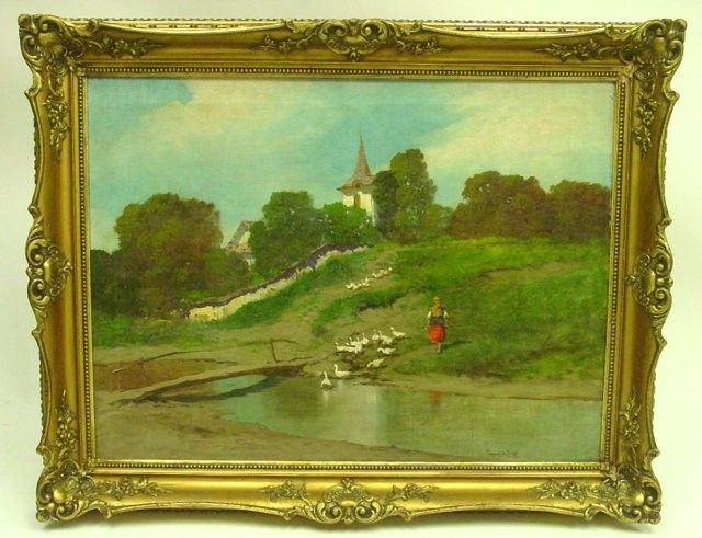 1872: Framed oil painting by Laszlo Neogrady