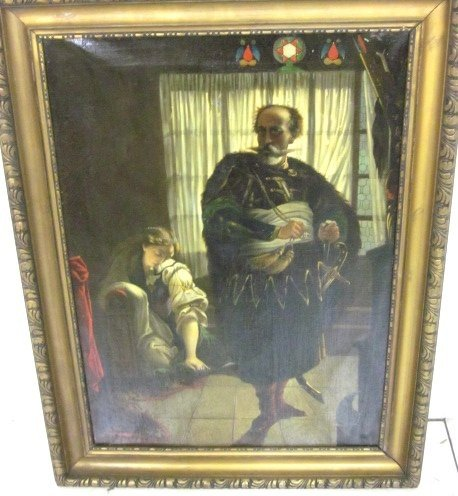 "1829: Oil painting ""Othello and Desdemona"" genre scene"