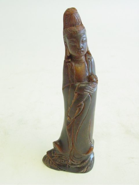 """19: 19th c. carved horn """"Guanyin"""""""
