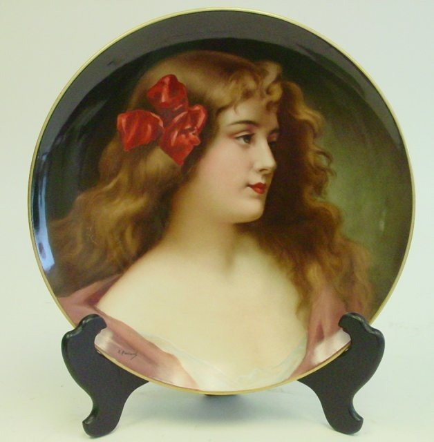 288: 19th c. Limoges handpainted porcelain charger