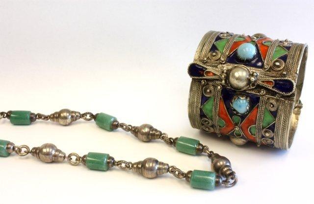 501A: Silver cuff enamelled bracelet & jade necklace