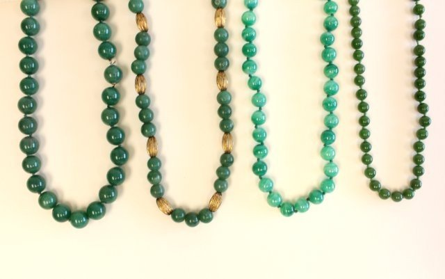 502A: Four jade beaded necklaces