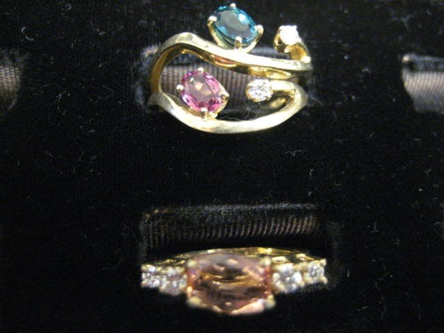 505: 3 14kt gold rings with semiprecious stones