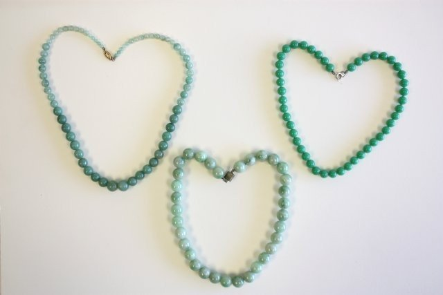 505A: Three green jade beaded chokers