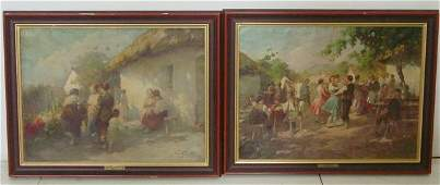 771A Pair of oil paintings on canvas