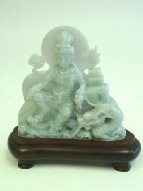 """1113: 20th c. jade """"Guan Yin with Dragon"""" on stand"""