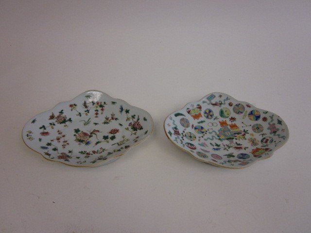 1114: Two Chinese porcelain compotes
