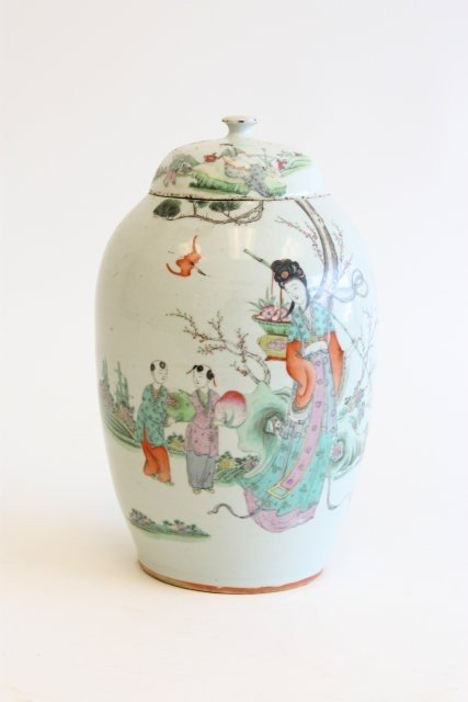 """1120: Covered jar with painting of  """"Mother & Children"""""""