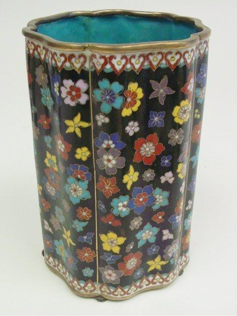 1129: Chinese cloisonne cylindrical vase