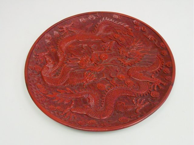 1130: Chinese red cinnabar carved plate