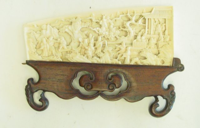 1390: 19th c. carved Chinese ivory plaque