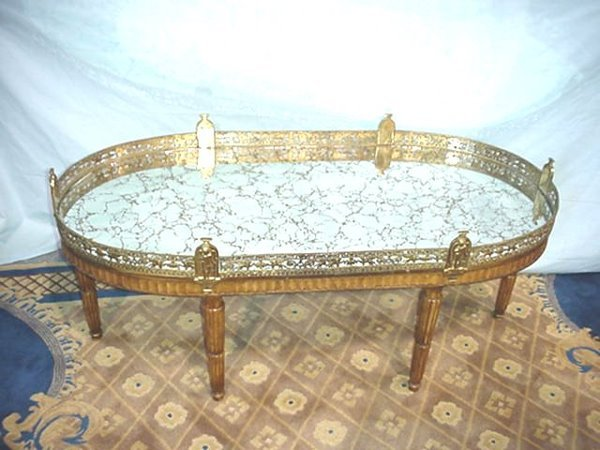 572: BRONZE MOUNTED MIRRORED COFFEE TABLE