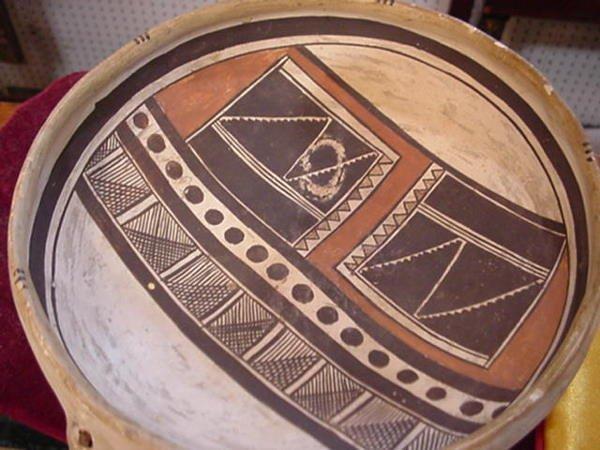 613: PAINT DECORATED BOWL FROM MOQUI PUEBLO INDIANS