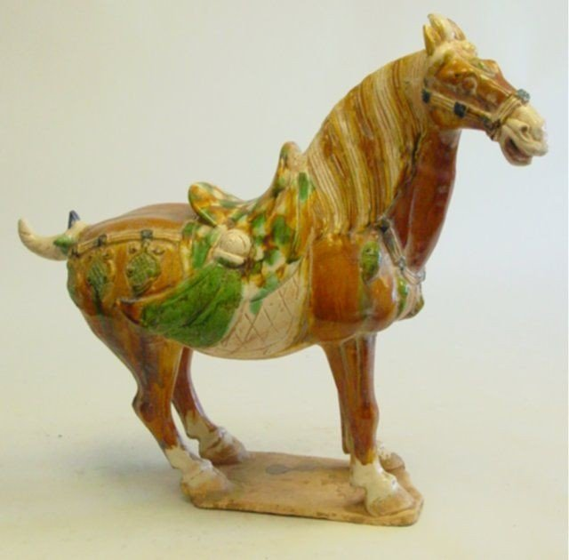 """5: Tang Dynasty pottery """"Horse"""" on base"""