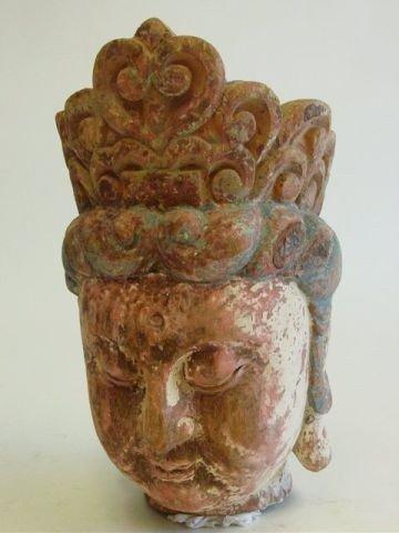 """6: Song Dynasty wood """"Buddha Head"""""""