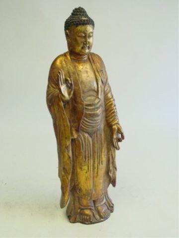 "8: 17th c. wood gilded figure ""Standing Bodhisattva"""