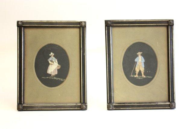 18: Pair 19th c. silk figural appliques under glass