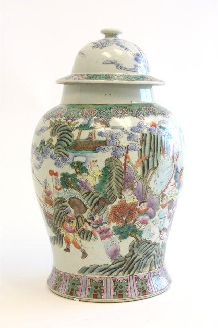 28: Rare Qianlong Famille Rose Verte covered jar