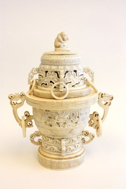 357: 19th c. Chinese carved ivory incense burner