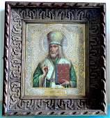 863 19th c Russian Icon Bishop St Joseph