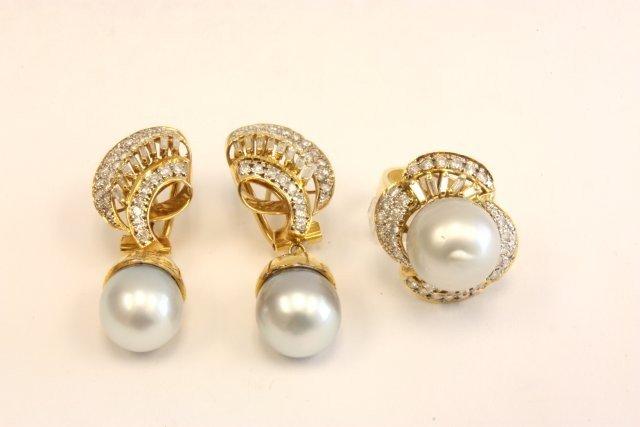 504: 14kt gold, diamond & pearl matching set