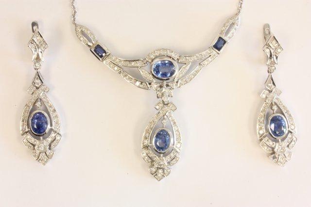 510: 14kt 3 pc white gold diamond & sapphire set
