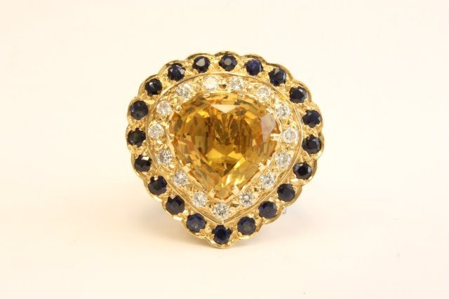 512: 18k yellow gold  pendant/ring with citrine stone