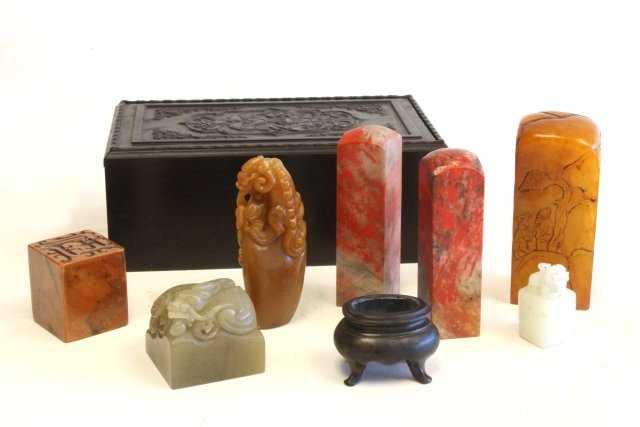 1026: Zitan carved box with 7 seals