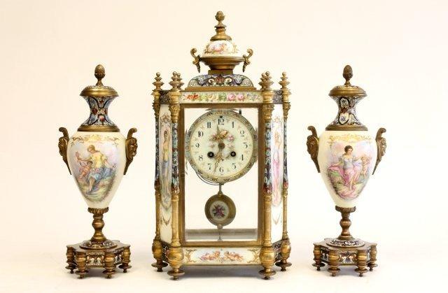 226: 19th c. French porcelain & enameled clock set