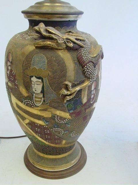 1: Japanese Satsuma vase mounted as lamp