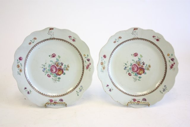 10: 18th c. pair Chinese Famille Rose armorial plates