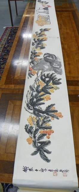 """12: Chinese scroll of """"Flowers, Fruit & Crab"""""""