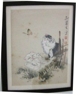"""23: Framed handpainted watercolor of """"2 Cats"""""""