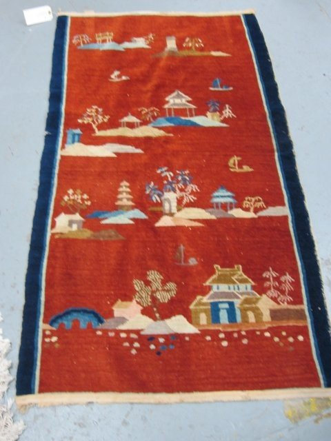 1: Chinese handmade deco rug with houses