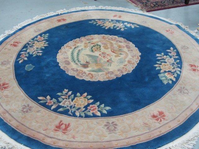 8: Blue round Chinese handmade rug
