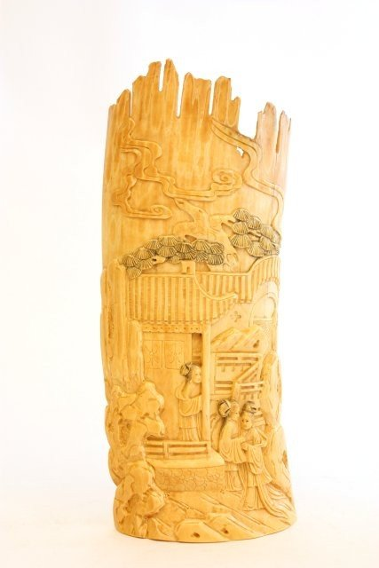 """21: 19th c. ivory panel of """"Figures"""""""