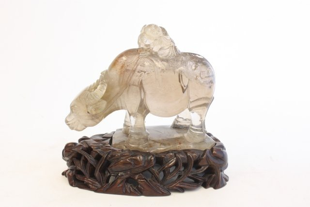 "22: Finely carved crystal of ""Boy & Buffalo"""