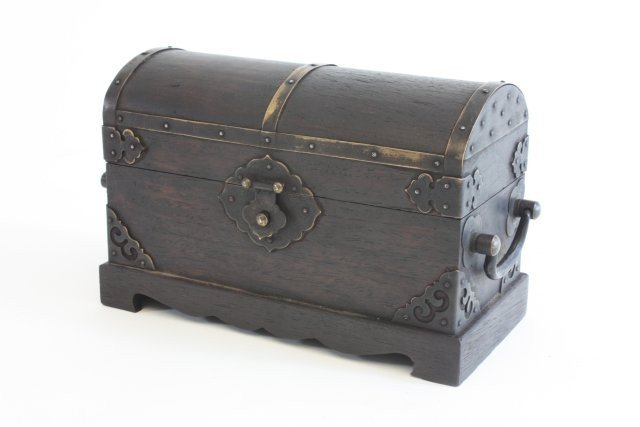 25: Magnificent 19th c. Zitan seal box with cover