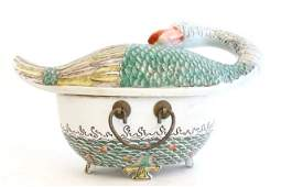 514: Chinese handpainted porcelain covered tureen