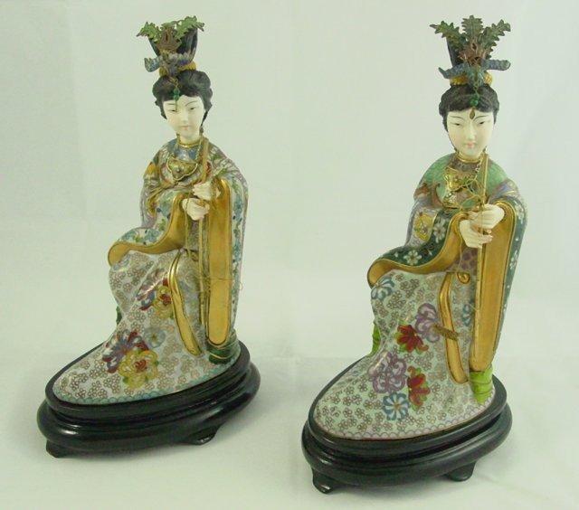 560: 2 Chinese cloisonne enameled figures